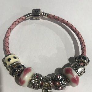 Authentic pink leather braided Pandora bracelet